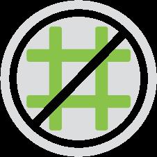 Hash symbol with a strike through it